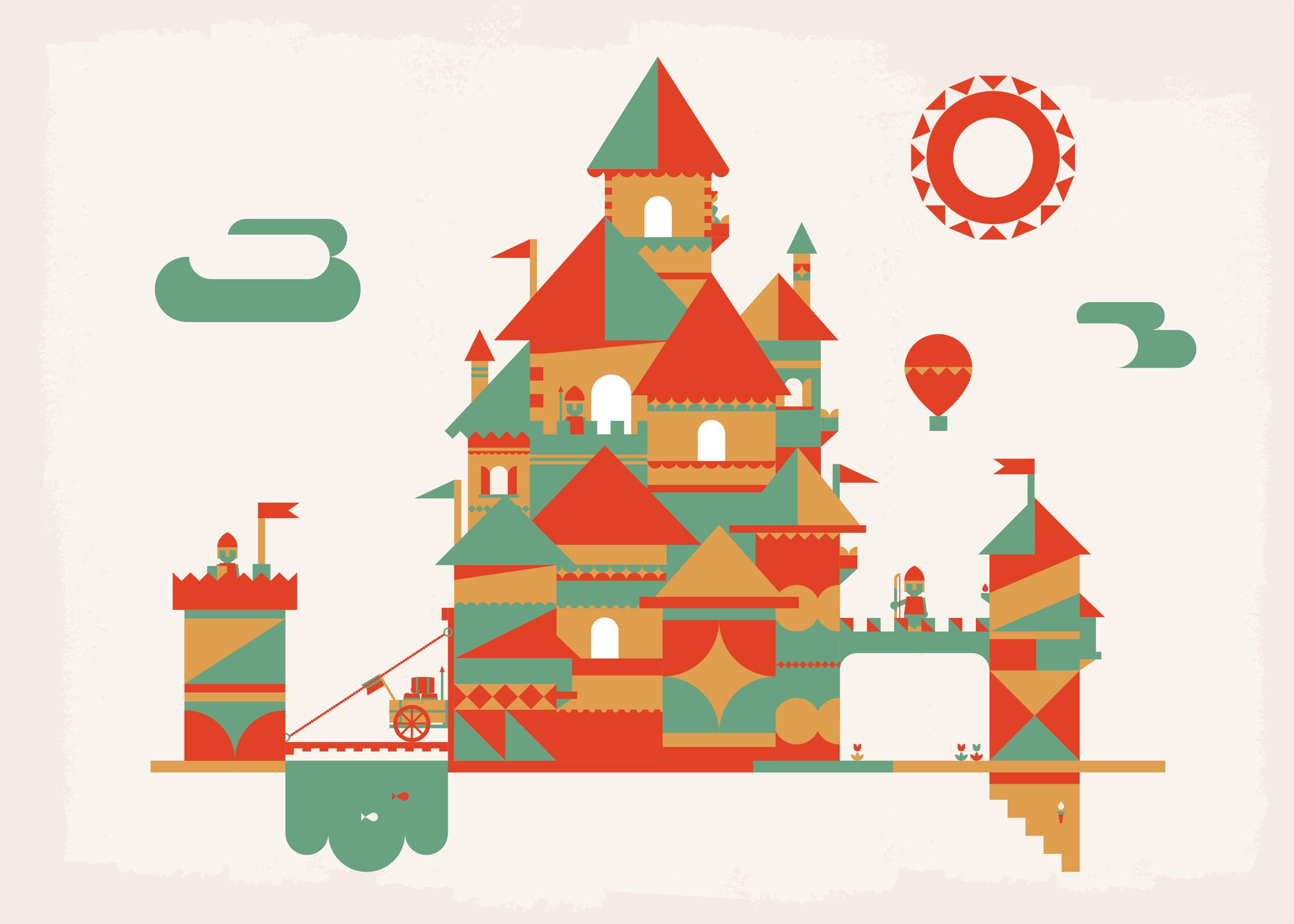castles mid-century illustrations createddominic flask