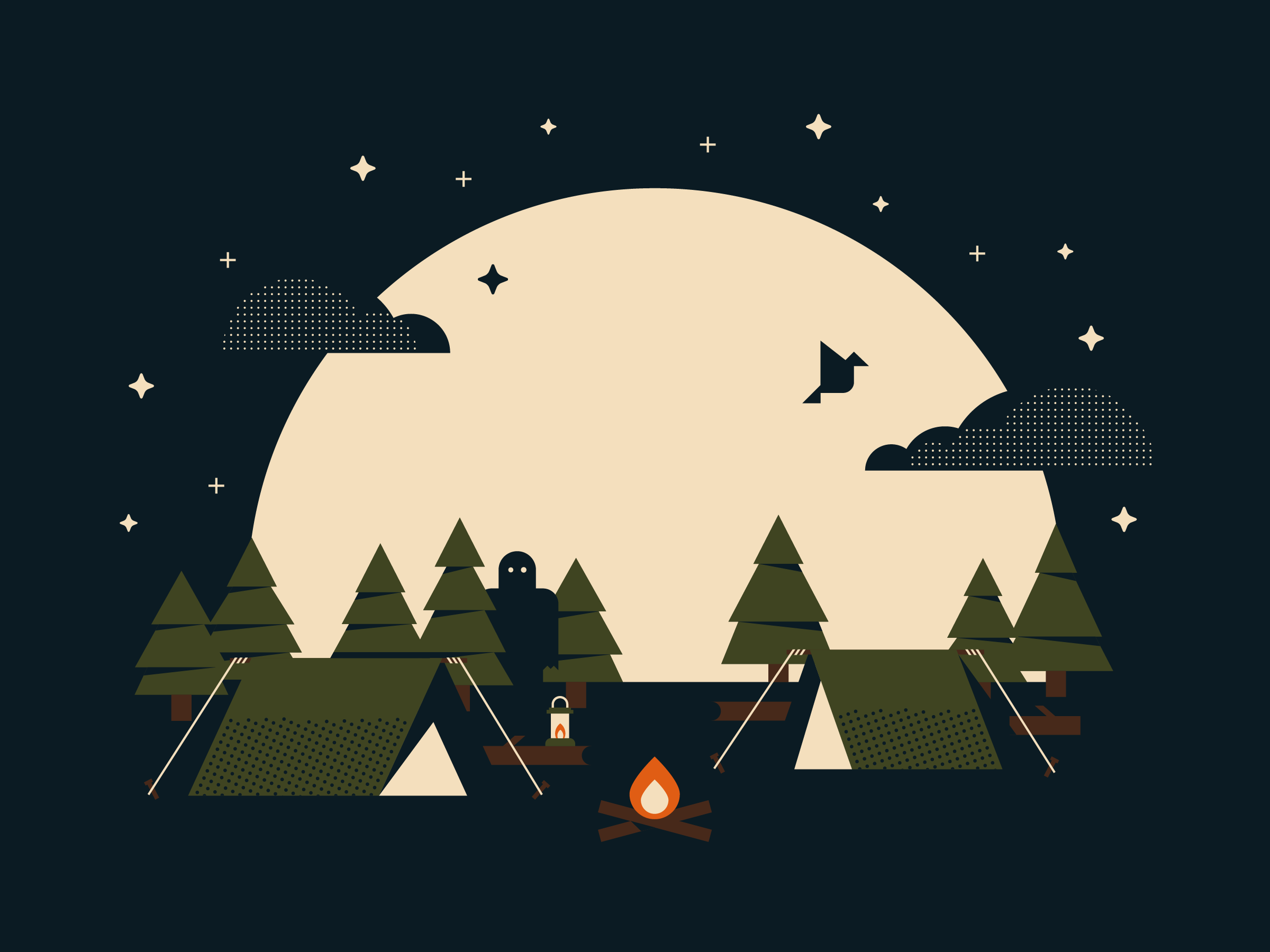 Summer Campout T-Shirt Screen Printed Illustration